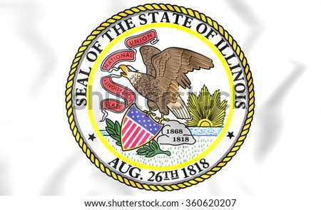 3D State Seal of Illinois, USA. Close Up.   - stock photo