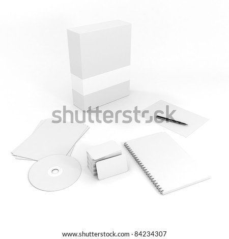 3d stationery blank documents, on white background - stock photo