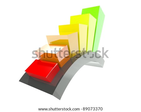 3d stats icon isolated on white - stock photo