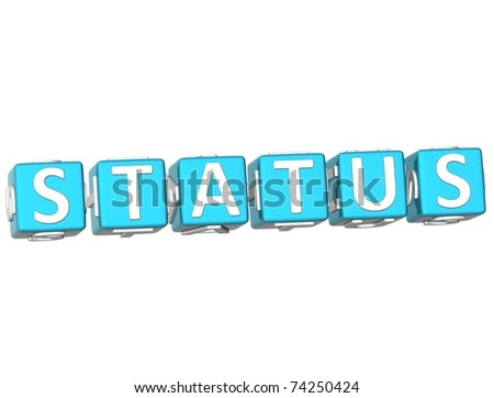 3D Status Cube text on white background - stock photo