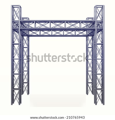3D steel metal construction development on white illustration - stock photo