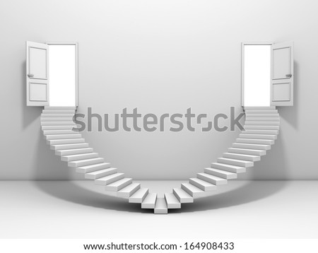 3d steps and door , isolated on white background - stock photo