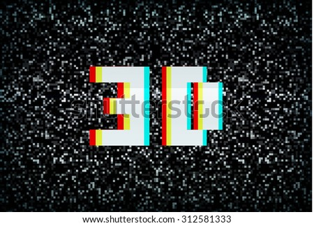 3D stereo effect 3D text on noisy black and white TV screen - stock photo