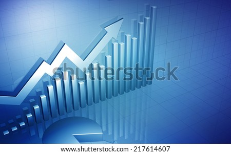 3D Stock Market Chart with blank space for text / Stock Market Up Arrow with Pie Chart - stock photo