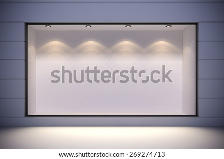 3d store front with big windows - stock photo