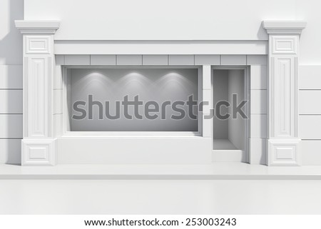 3d store shopfront with big windows - stock photo