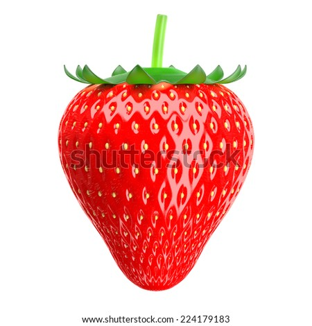 3d Strawberry in the background. - stock photo