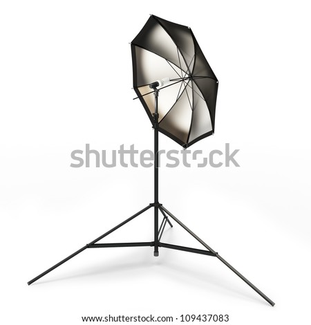 3d studio light with umbrella isolated on white - stock photo
