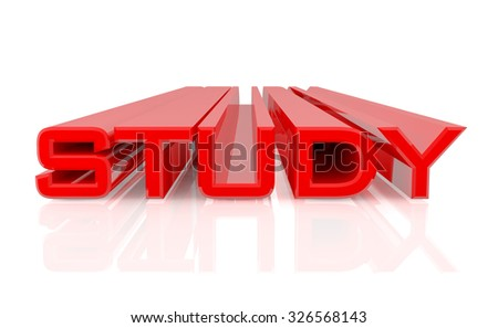 3D STUDY word on white background 3d rendering - stock photo