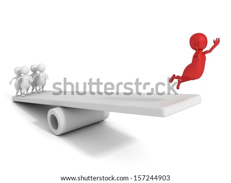 3d success man jump up on seesaw with help team - stock photo