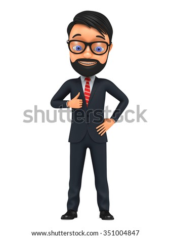 3d successful businessman isolated on white background. Business man give thumb up sign. - stock photo