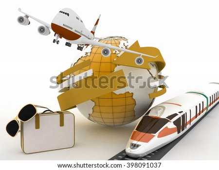 3d suitcase, airplane, train and globe. Travel and vacation concept. Trendy signs - summer and journey - stock photo