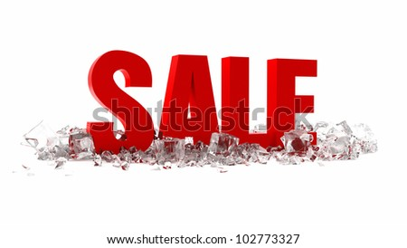3d summer sale with ice cubes on white background - stock photo