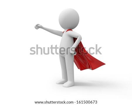 3d superman, superhero standing in red raincoat - stock photo