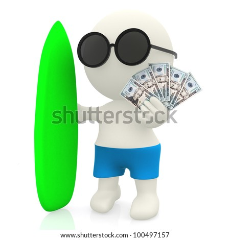3D surfer with money - isolated over a white background - stock photo