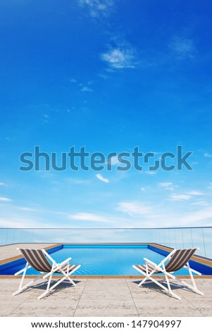 3d swimming pool with 2 beach chairs  - stock photo