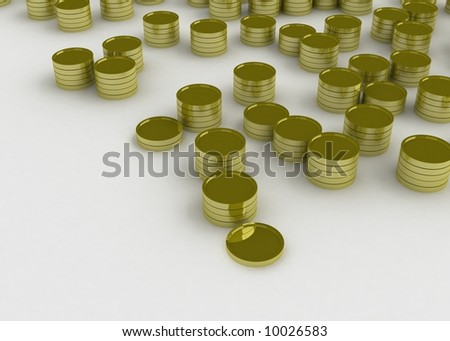 3d symbolic gold coins in stacks of different height - stock photo