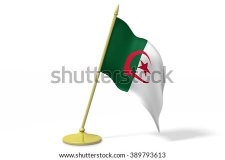 3D table flag of Algeria. - stock photo