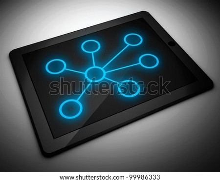 3d tablet pc and network concept - stock photo