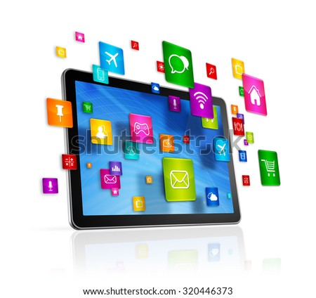 3D Tablet PC with flying apps icons - isolated on white - stock photo