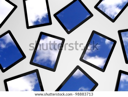 3d tablet pc with sky background on screens - stock photo