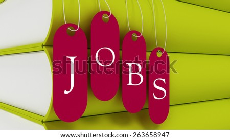 3d tags labeled jobs on each, with books - stock photo