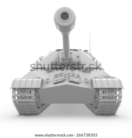 3D tank isolated on white background - stock photo