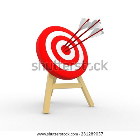 3d target and arrows  - stock photo