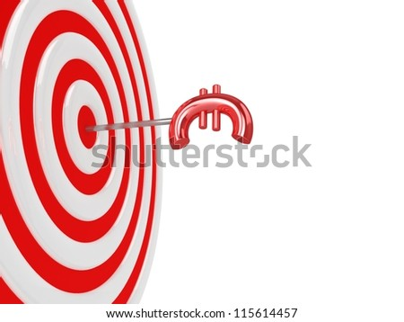 3d target with euro sign. - stock photo