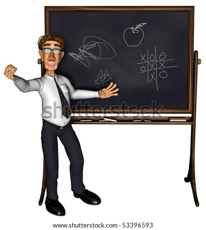 3d teacher teaching 3 cartoon - stock photo