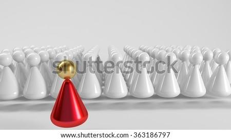 3d Team leader, 3d people -  Partnership or leadership - stock photo