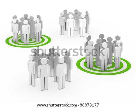 3d teamwork people group circle green tarbet - stock photo