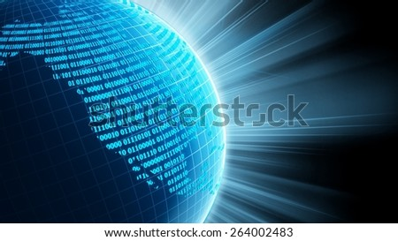 3D. Technology, Globe, Internet. Elements of this image furnished by NASA. - stock photo