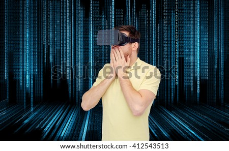 3d technology, virtual reality, entertainment and people concept - amazed young man with virtual reality headset or 3d glasses playing game over binary code background - stock photo