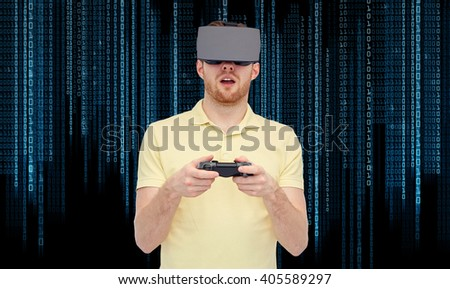 3d technology, virtual reality, entertainment and people concept - happy young man with virtual reality headset or 3d glasses playing with game controller gamepad over binary code background - stock photo