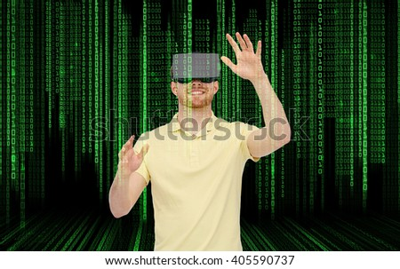3d technology, virtual reality, entertainment and people concept - happy young man with virtual reality headset or 3d glasses playing game over binary code background - stock photo
