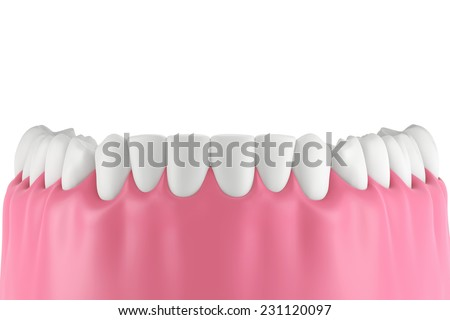 3D teeth or tooth illustration,front view isolated - stock photo
