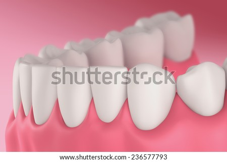 3D teeth or tooth side view, closeup illustration - stock photo