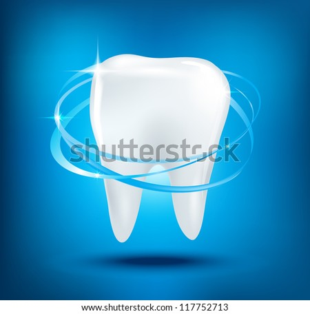 3d  teeth protection on blue background. - stock photo