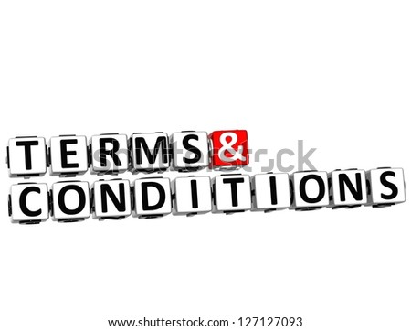 3D Terms and Conditions Crossword on white background - stock photo