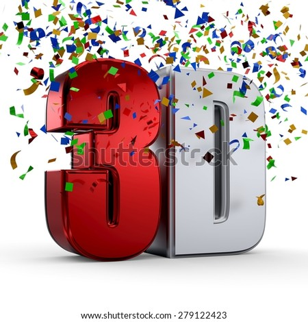 3D Text and Confetti. Entertainment cinema. Isolated icon. - stock photo