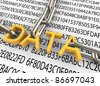 3d text 'data' with closed chain on the background of hexadecimal data. - stock photo
