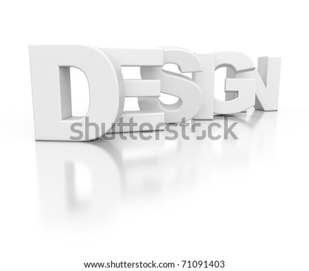 3d text DESIGN isolated on white background - stock photo