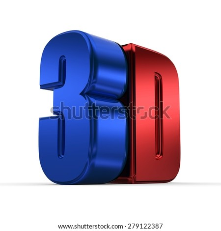 3D Text in Red and Blue Color - stock photo