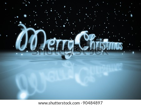 3d text merry Christmas with snow - stock photo