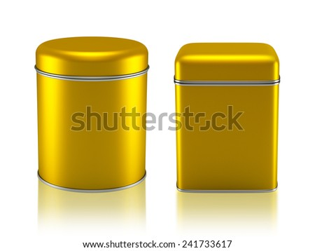 3D Tin Can gold color product package type cylinder and square form design, object isolated - stock photo