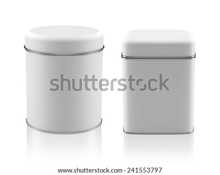 3D Tin Can white color product package type cylinder and square form design, object isolated - stock photo