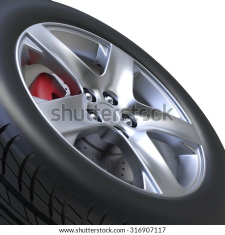 3D tire  - stock photo