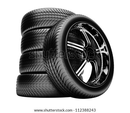3d tires isolated on white background with no shadow - stock photo