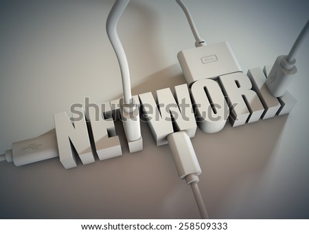 3d Title connected with computer cables and wires. Concept of networking via connect cables. - stock photo